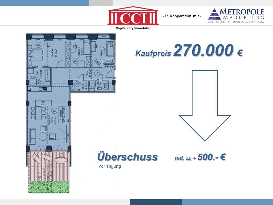 Überschuss Kaufpreis 270.000 € mtl. ca. + 500.- €