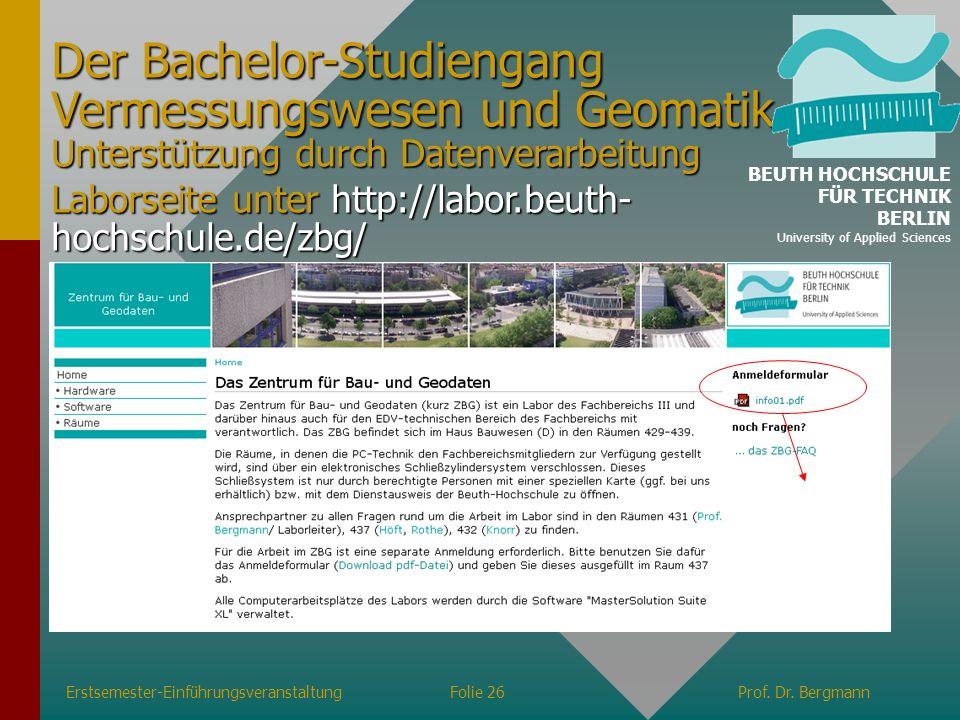 Der Bachelor-Studiengang Vermessungswesen und Geomatik Unterstützung durch Datenverarbeitung