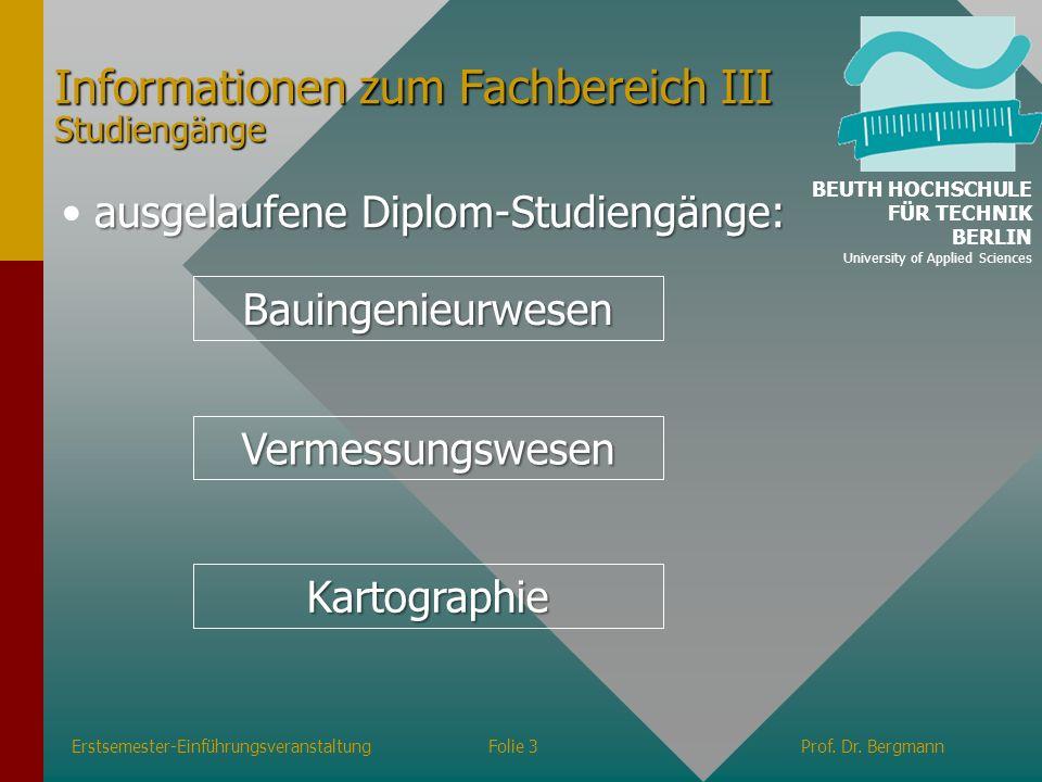 Informationen zum Fachbereich III Studiengänge
