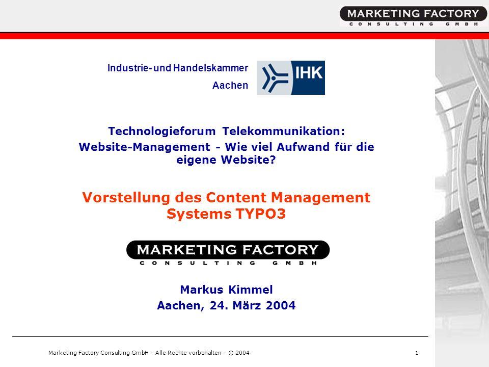 Vorstellung des Content Management Systems TYPO3