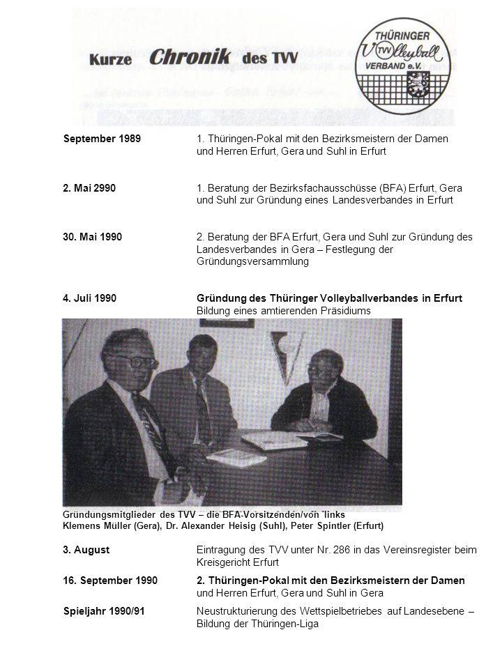 September 1989. 1. Thüringen-Pokal mit den Bezirksmeistern der Damen
