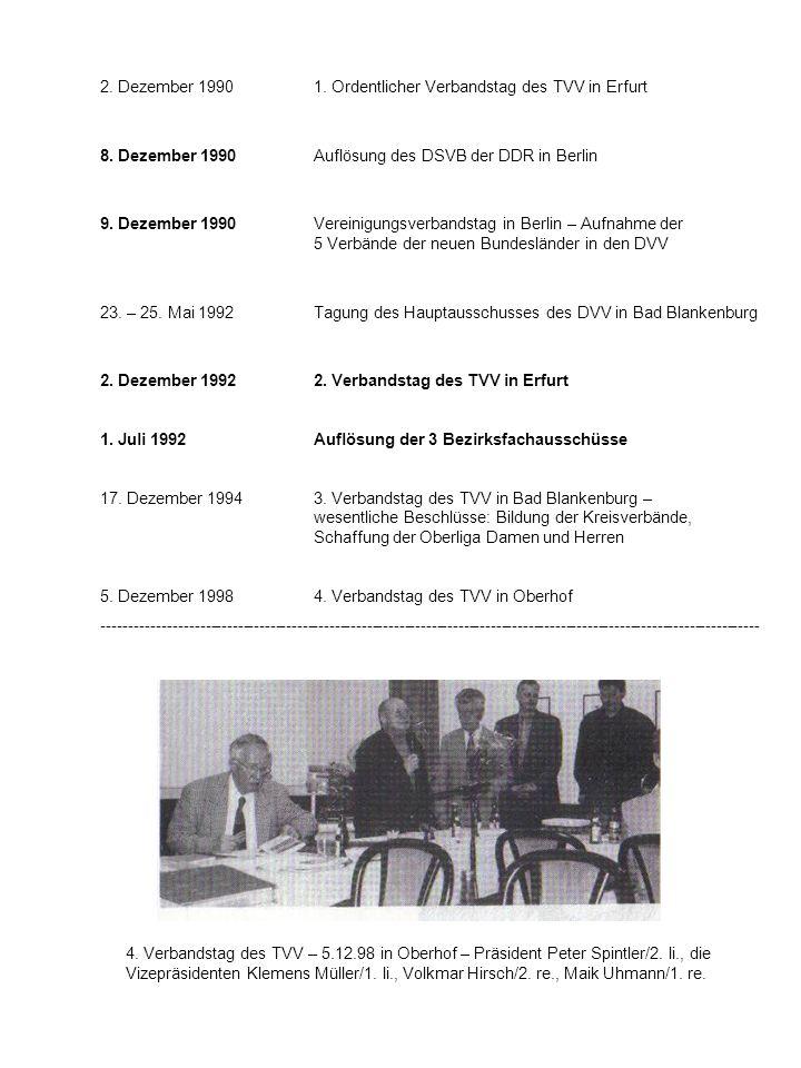 2. Dezember 1990 1. Ordentlicher Verbandstag des TVV in Erfurt