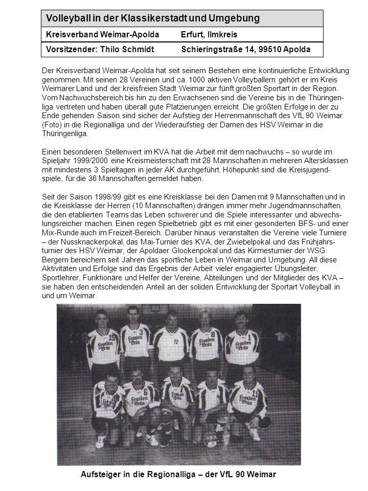 Volleyball in der Klassikerstadt und Umgebung