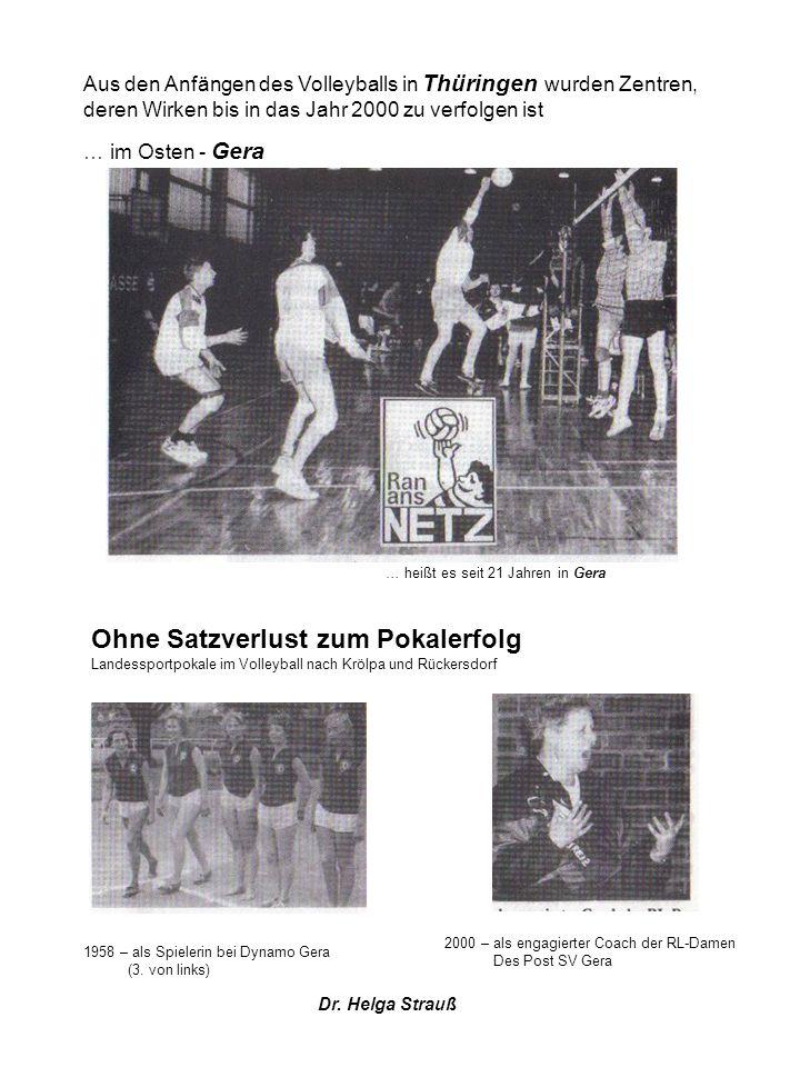 Aus den Anfängen des Volleyballs in Thüringen wurden Zentren, deren Wirken bis in das Jahr 2000 zu verfolgen ist