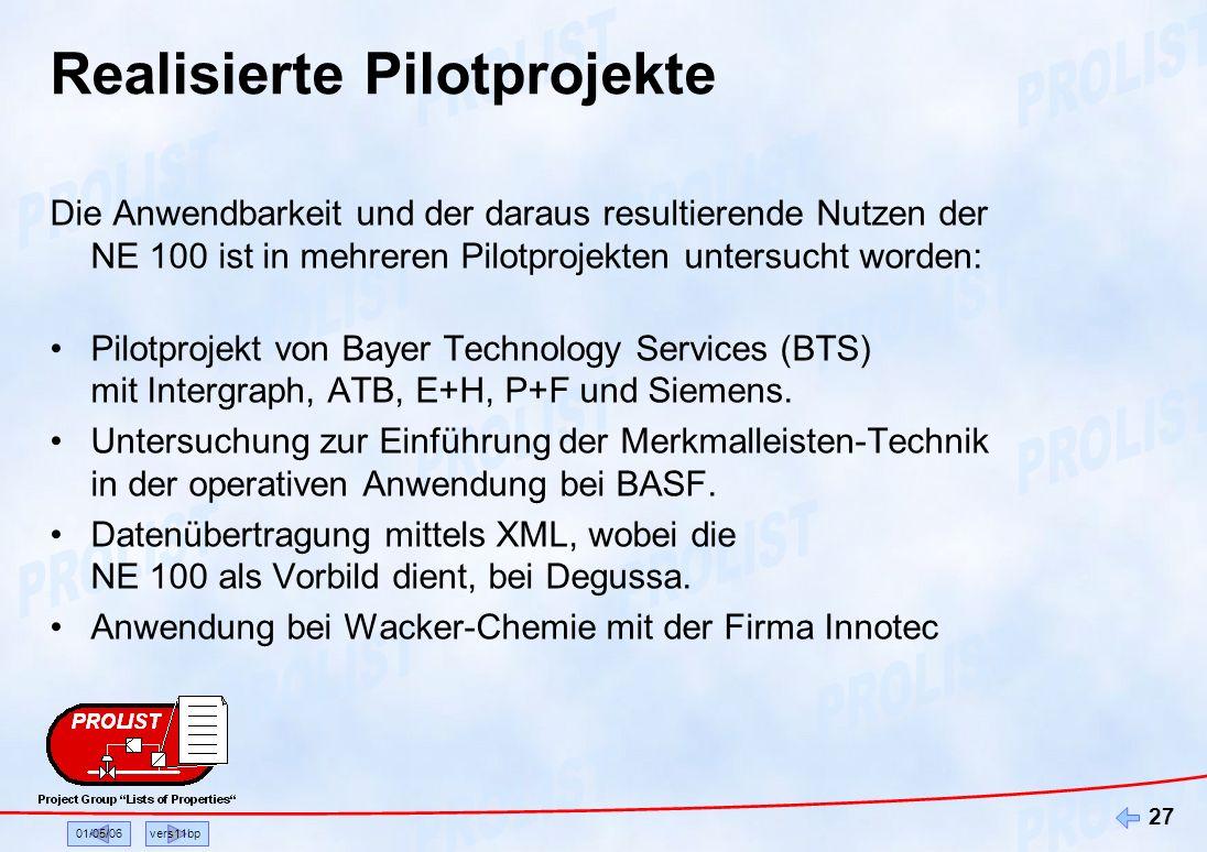 Realisierte Pilotprojekte