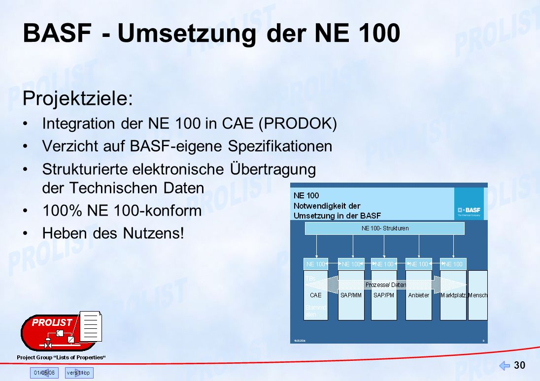 BASF - Umsetzung der NE 100 Projektziele: