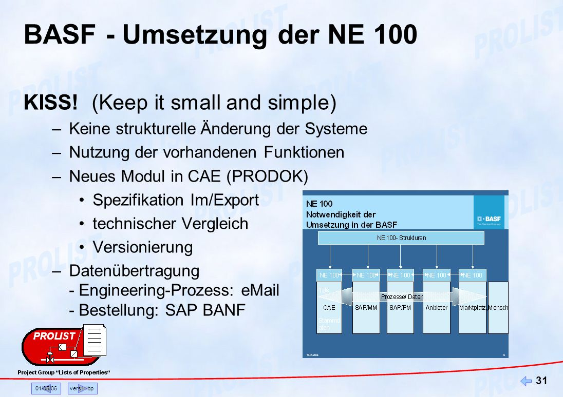 BASF - Umsetzung der NE 100 KISS! (Keep it small and simple)