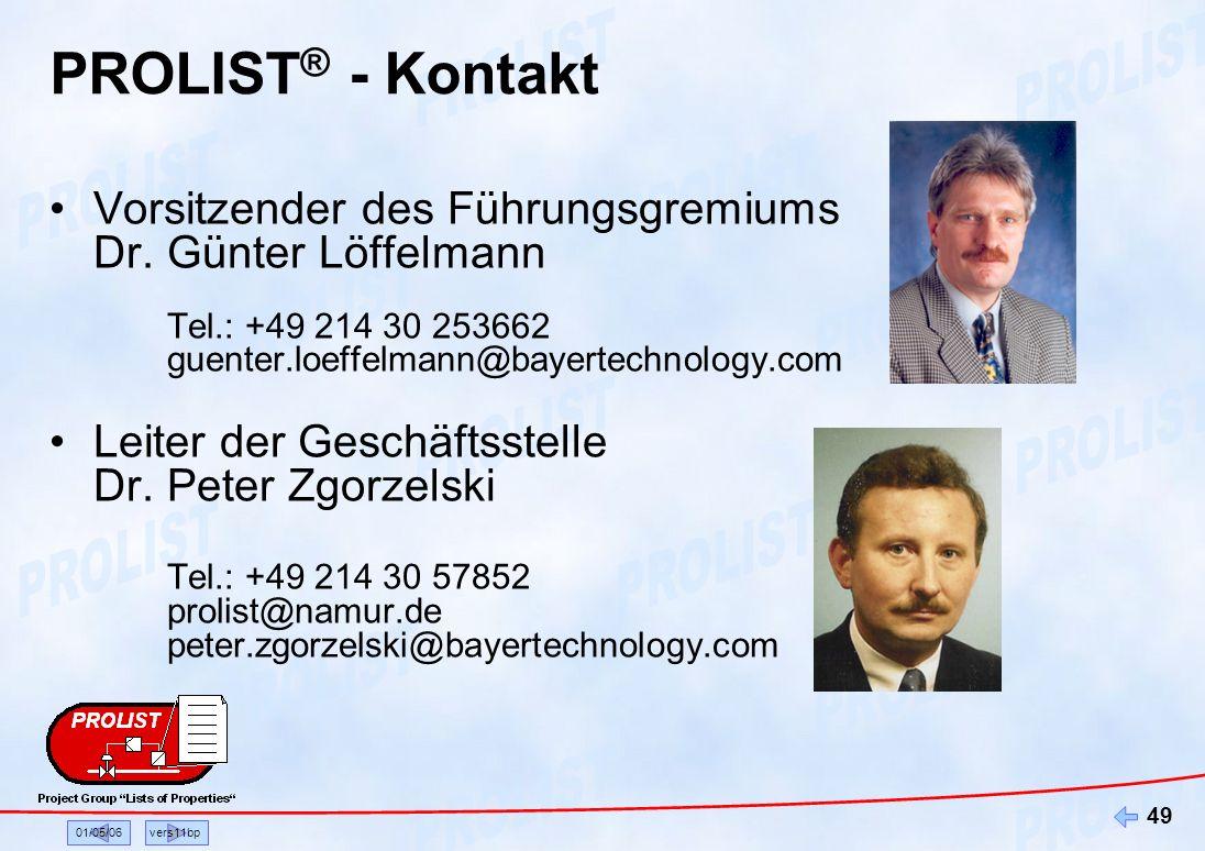 PROLIST® - Kontakt Vorsitzender des Führungsgremiums Dr. Günter Löffelmann Tel.: +49 214 30 253662 guenter.loeffelmann@bayertechnology.com.