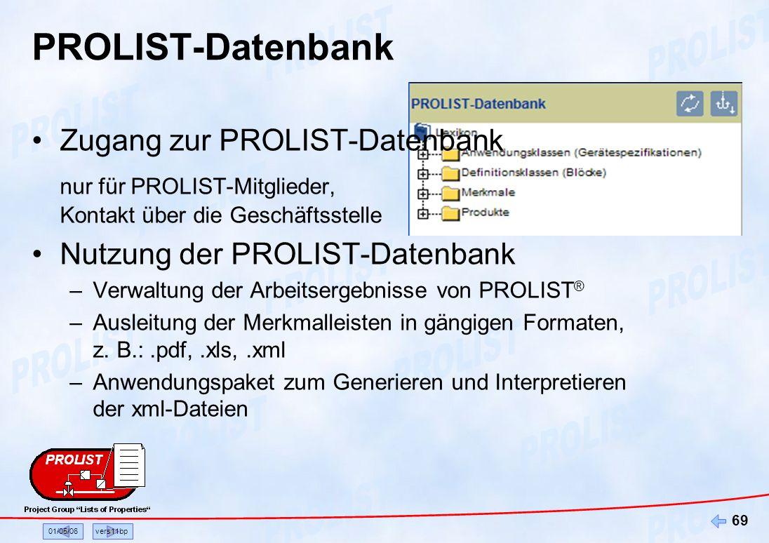 PROLIST-Datenbank Zugang zur PROLIST-Datenbank