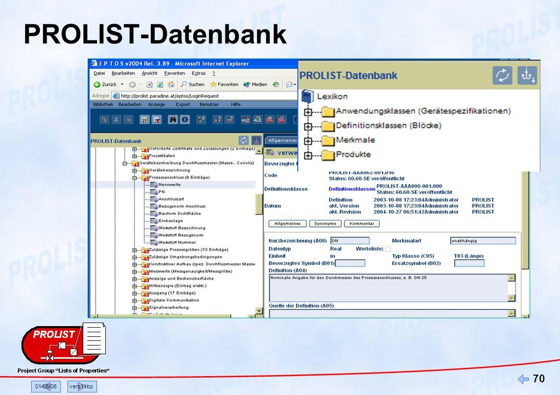 PROLIST-Datenbank 01/05/06 vers11bp