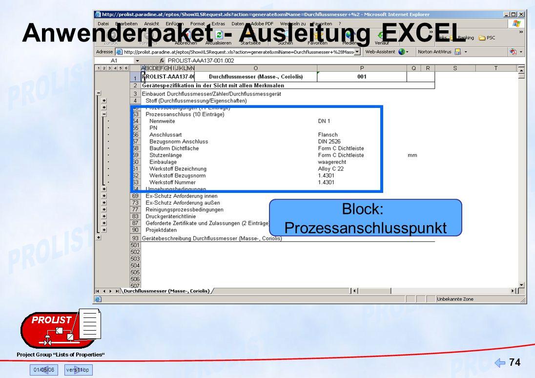 Anwenderpaket - Ausleitung EXCEL