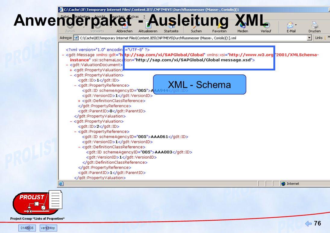 Anwenderpaket - Ausleitung XML