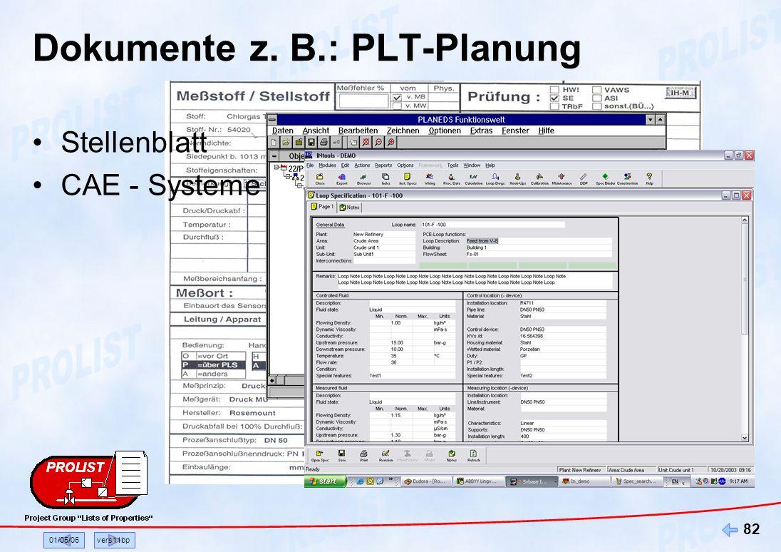 Dokumente z. B.: PLT-Planung