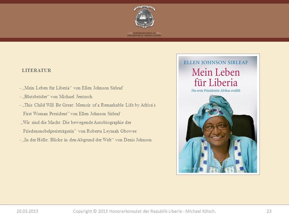 """LITERATUR - """"Mein Leben für Liberia von Ellen Johnson Sirleaf. """"Blutsbrüder von Michael Jentzsch."""