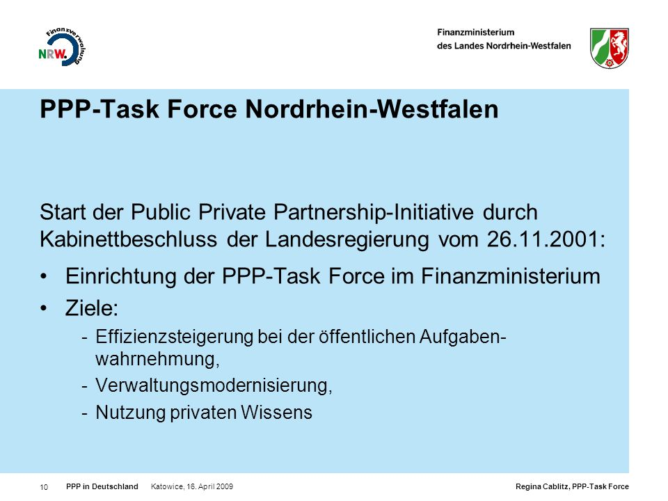 PPP-Task Force Nordrhein-Westfalen