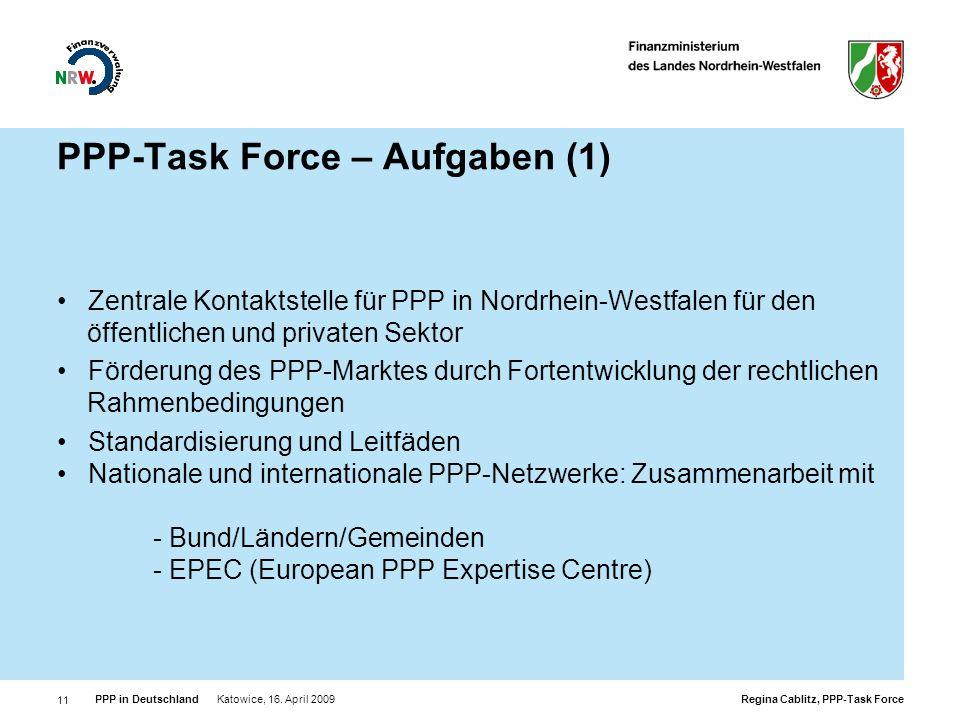 PPP-Task Force – Aufgaben (1)