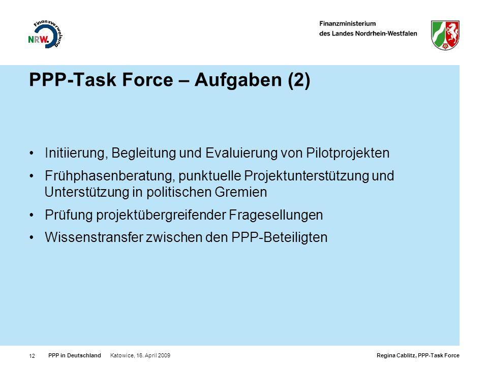 PPP-Task Force – Aufgaben (2)