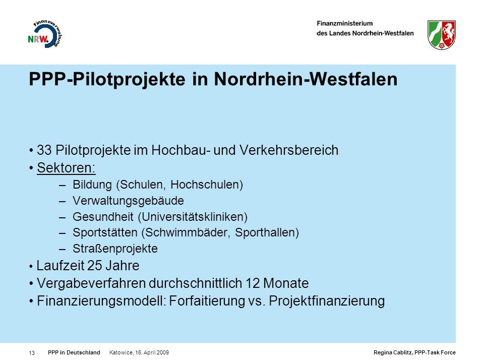 PPP-Pilotprojekte in Nordrhein-Westfalen