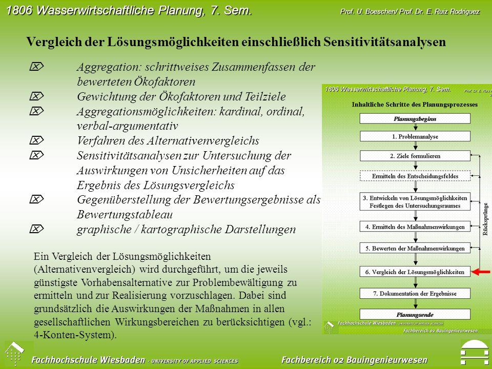 Vergleich der Lösungsmöglichkeiten einschließlich Sensitivitätsanalysen
