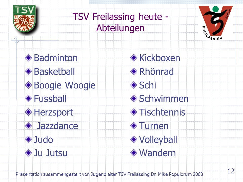 TSV Freilassing heute - Abteilungen