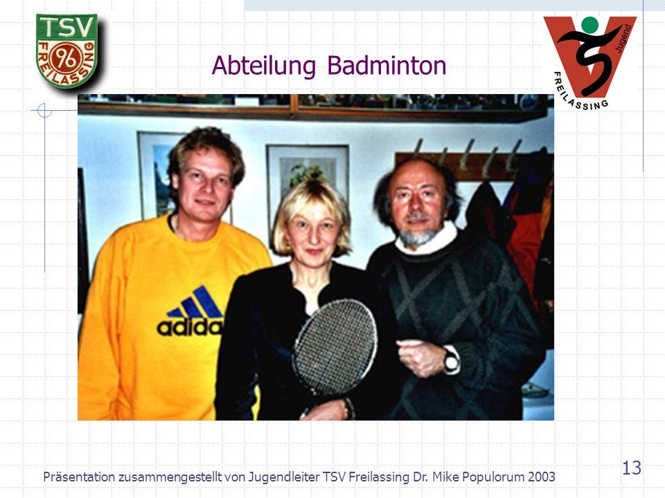 Abteilung Badminton Präsentation zusammengestellt von Jugendleiter TSV Freilassing Dr.
