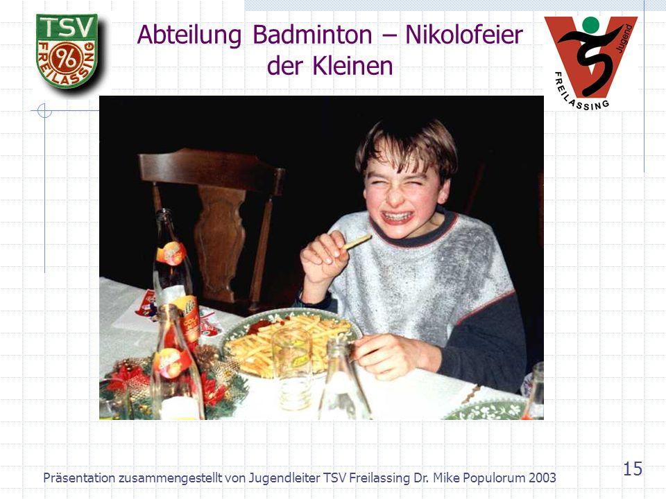 Abteilung Badminton – Nikolofeier der Kleinen