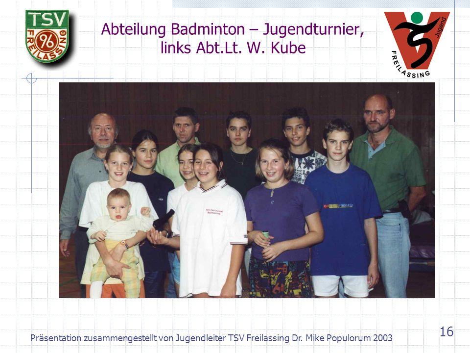 Abteilung Badminton – Jugendturnier, links Abt.Lt. W. Kube