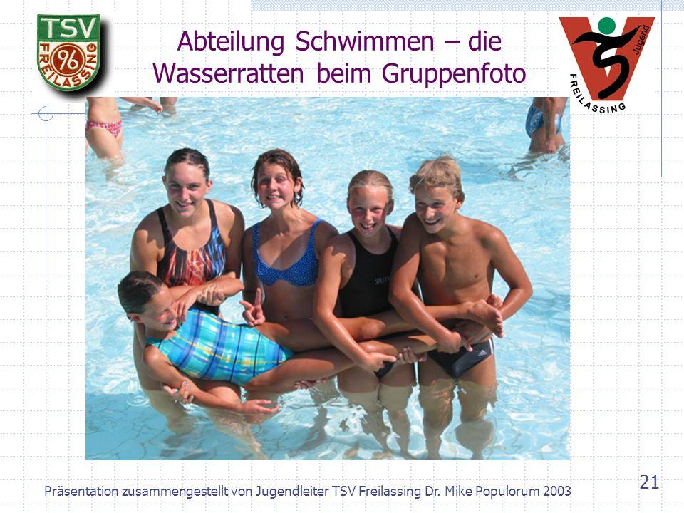 Abteilung Schwimmen – die Wasserratten beim Gruppenfoto