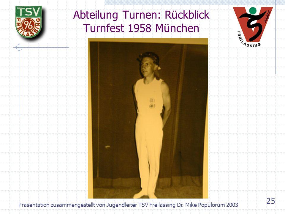 Abteilung Turnen: Rückblick Turnfest 1958 München