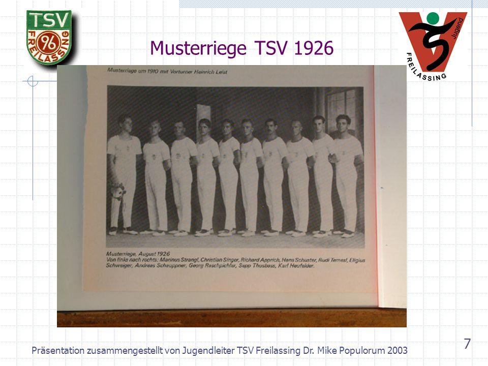 Musterriege TSV 1926 Präsentation zusammengestellt von Jugendleiter TSV Freilassing Dr.