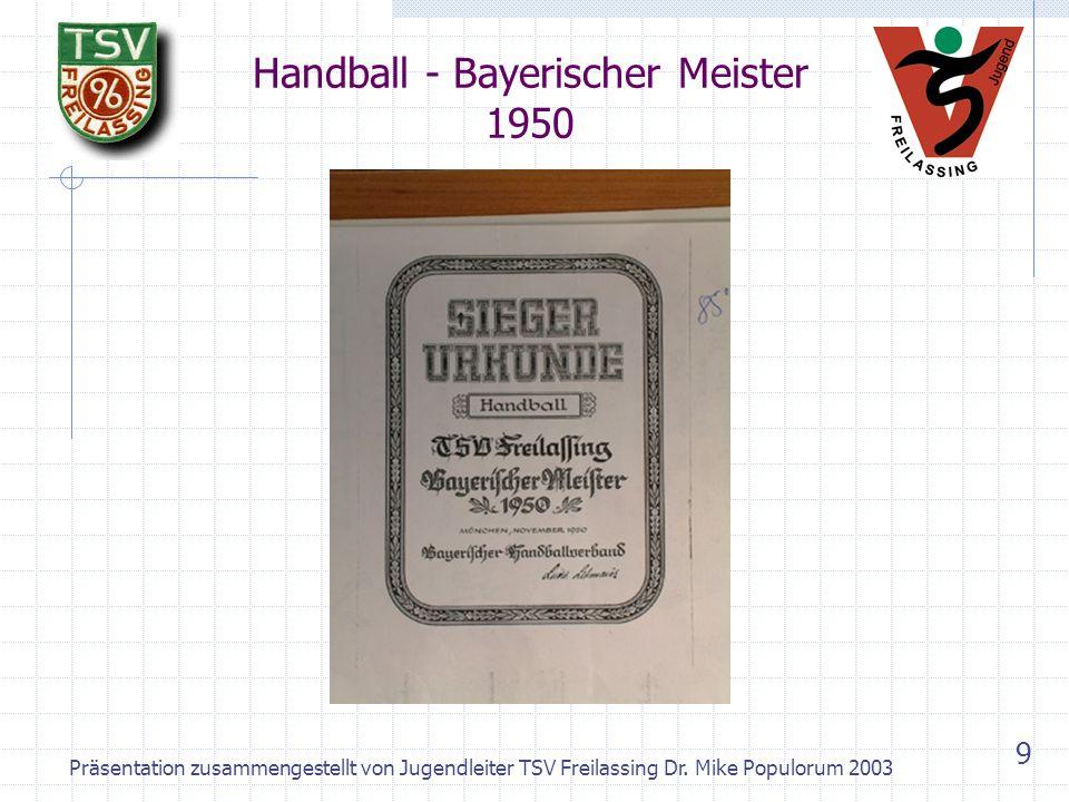 Handball - Bayerischer Meister 1950