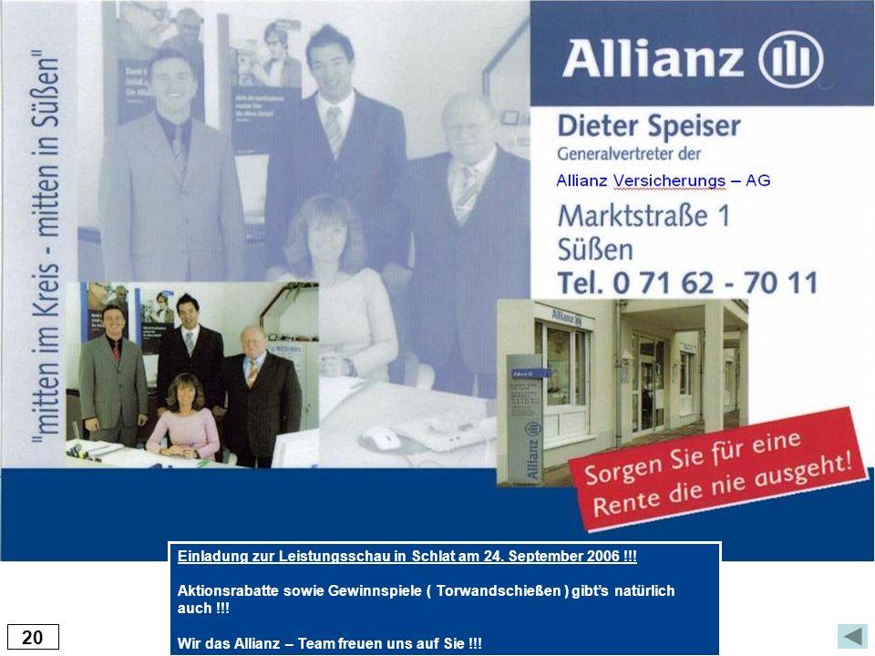 20 Einladung zur Leistungsschau in Schlat am 24. September 2006 !!!