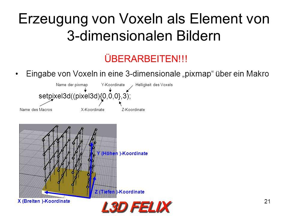 Erzeugung von Voxeln als Element von 3-dimensionalen Bildern