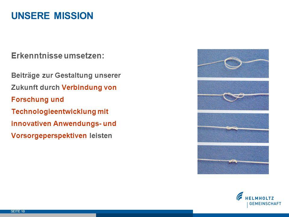 UNSERE MISSION Erkenntnisse umsetzen: