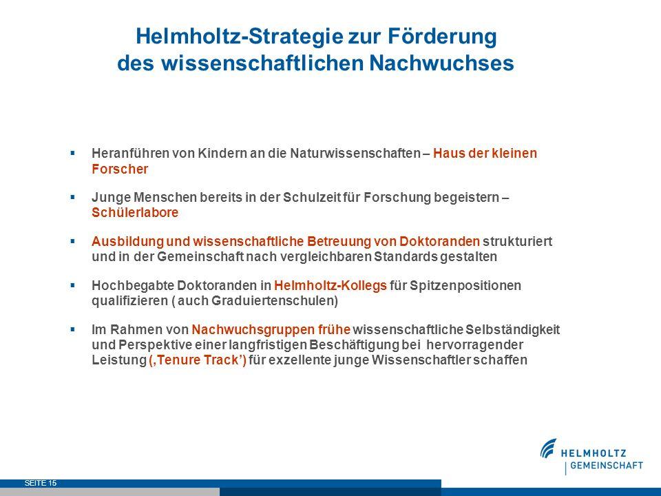 Helmholtz-Strategie zur Förderung des wissenschaftlichen Nachwuchses