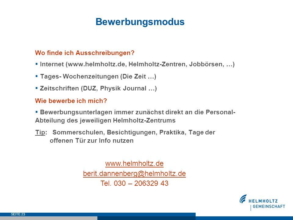Bewerbungsmodus www.helmholtz.de berit.dannenberg@helmholtz.de