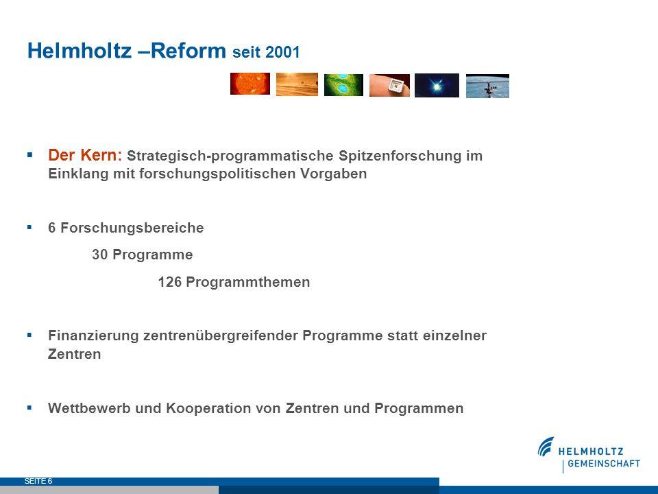 Helmholtz –Reform seit 2001