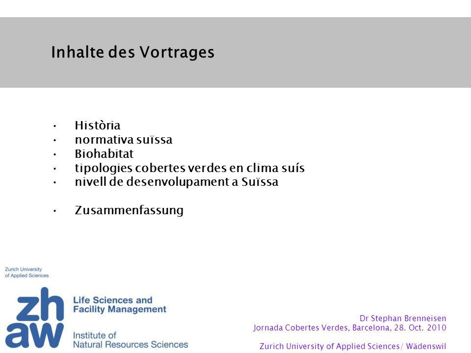 Inhalte des Vortrages Història normativa suïssa Biohabitat