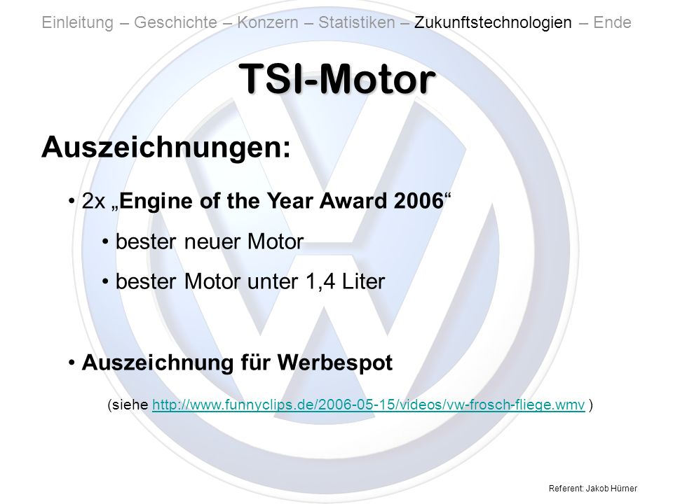 "TSI-Motor Auszeichnungen: 2x ""Engine of the Year Award 2006"