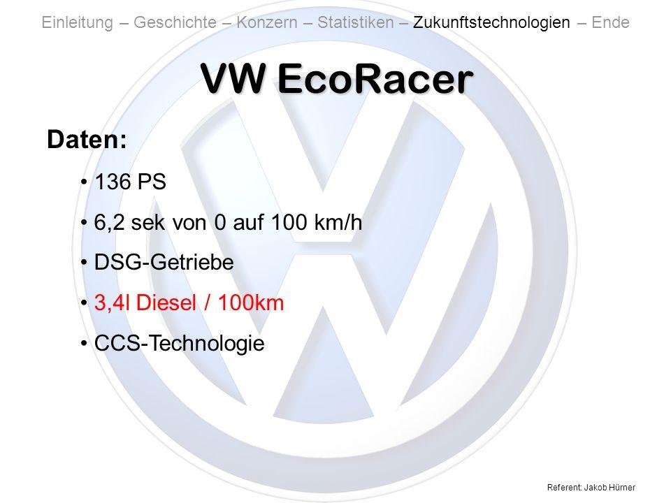 VW EcoRacer Daten: 136 PS 6,2 sek von 0 auf 100 km/h DSG-Getriebe