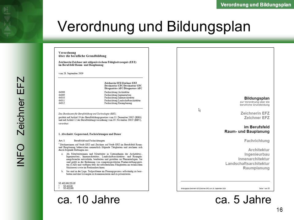 Verordnung und Bildungsplan