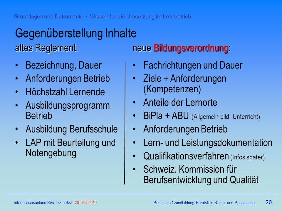 Grundlagen und Dokumente / Wissen für die Umsetzung im Lehrbetrieb