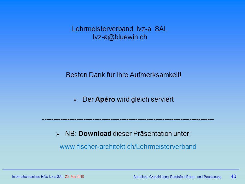Lehrmeisterverband lvz-a SAL lvz-a@bluewin.ch