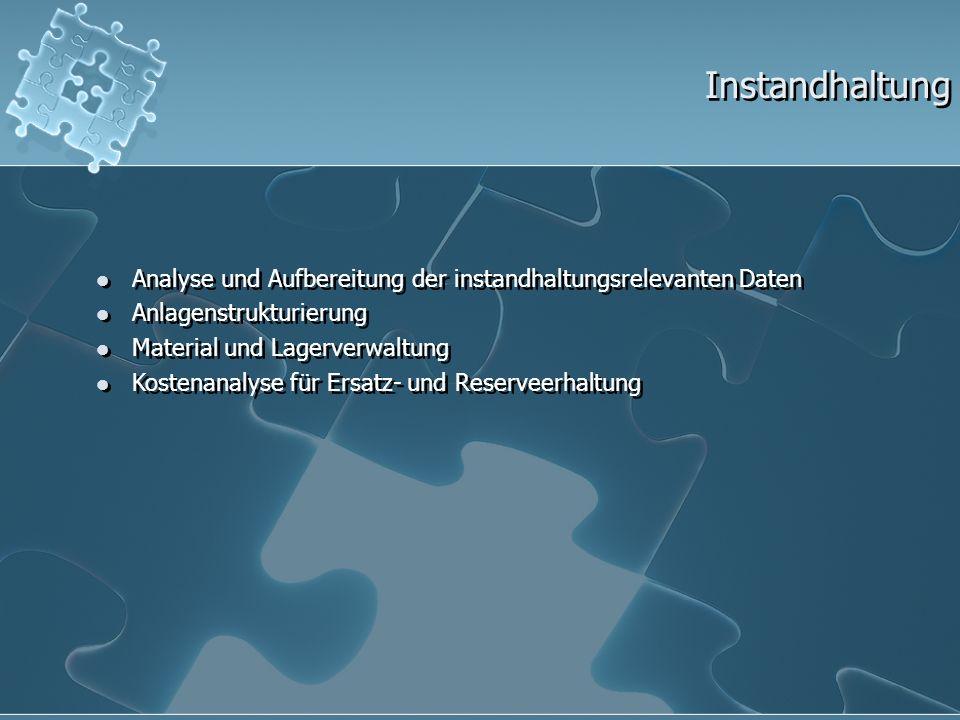 Instandhaltung Analyse und Aufbereitung der instandhaltungsrelevanten Daten. Anlagenstrukturierung.