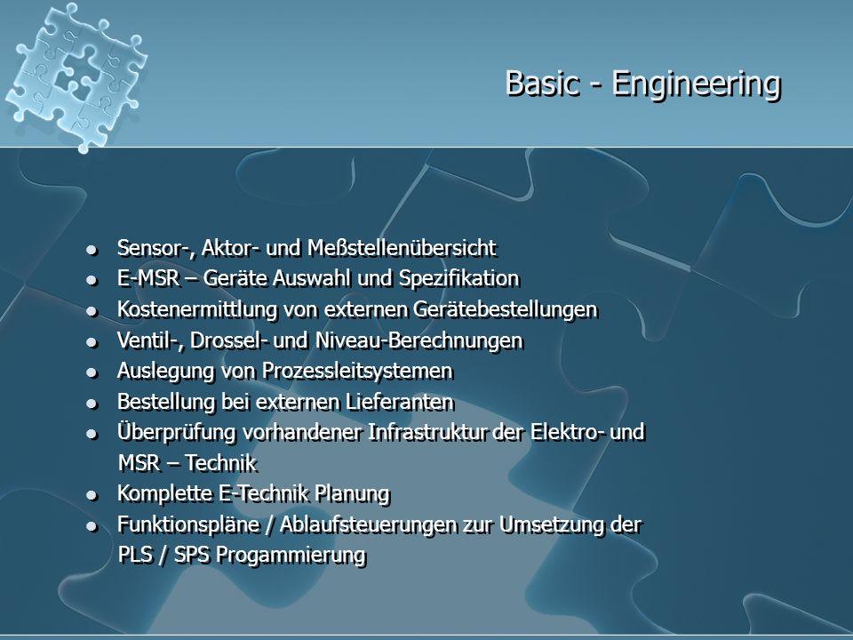 Basic - Engineering Sensor-, Aktor- und Meßstellenübersicht