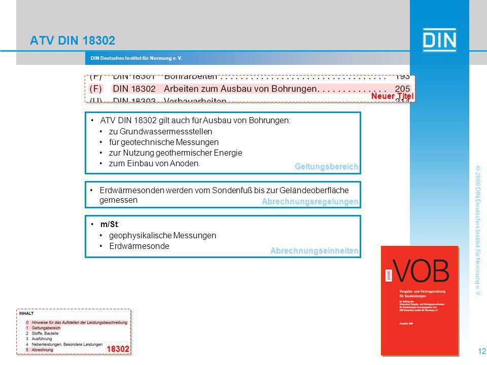 ATV DIN 18302 Neuer Titel. Geltungsbereich. ATV DIN 18302 gilt auch für Ausbau von Bohrungen: zu Grundwassermessstellen.
