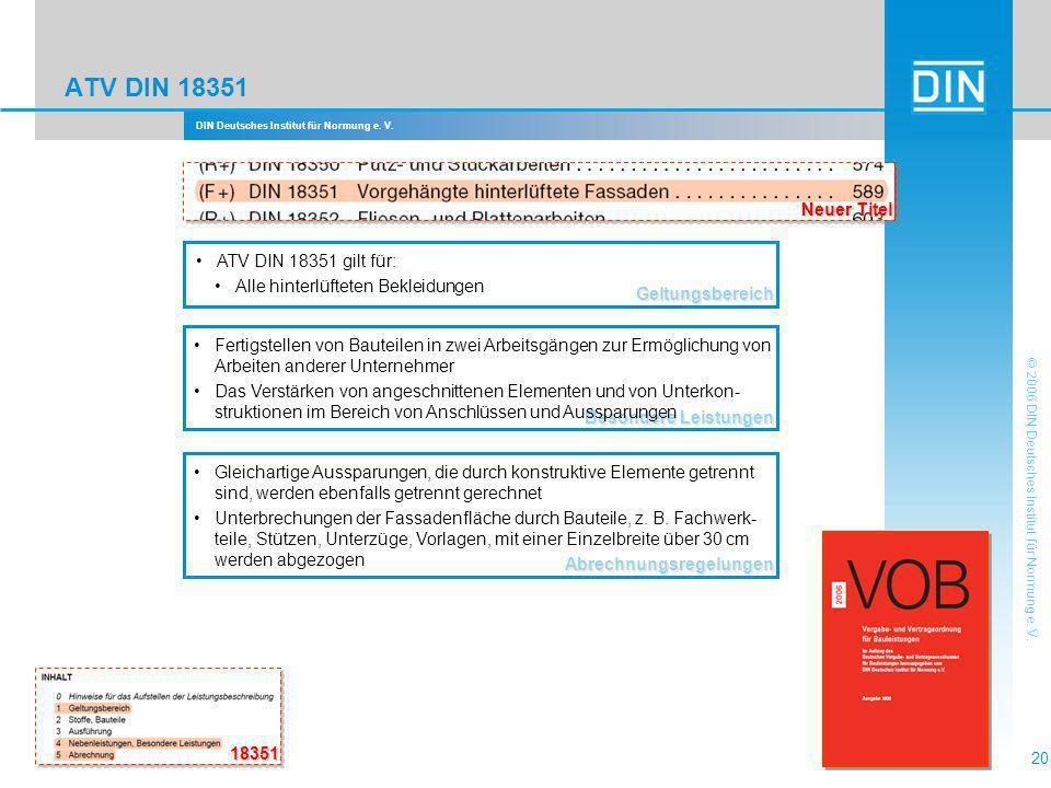 ATV DIN 18351 Neuer Titel ATV DIN 18351 gilt für:
