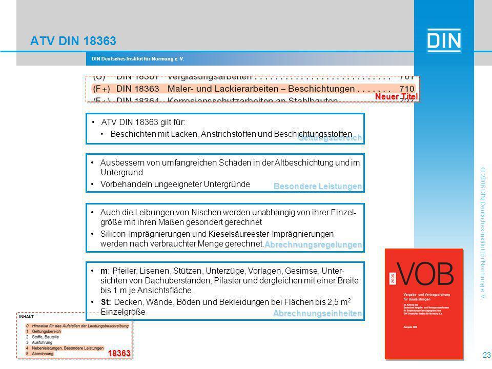 ATV DIN 18363 Neuer Titel ATV DIN 18363 gilt für: