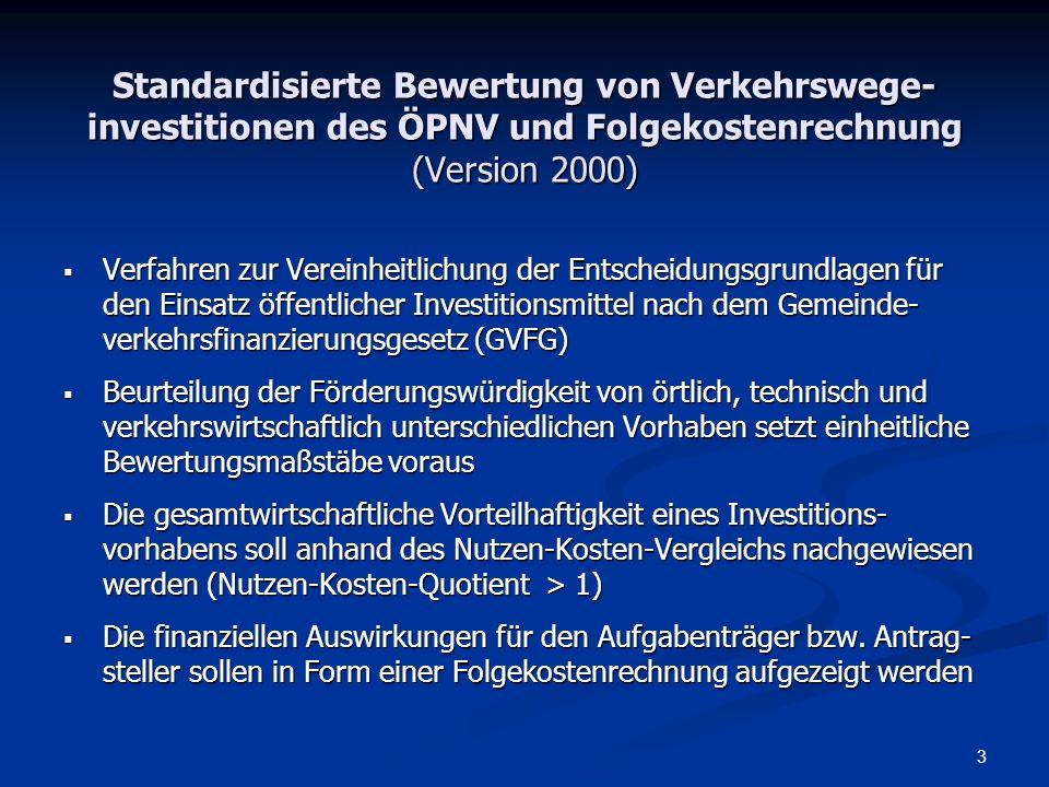 Standardisierte Bewertung von Verkehrswege-investitionen des ÖPNV und Folgekostenrechnung (Version 2000)
