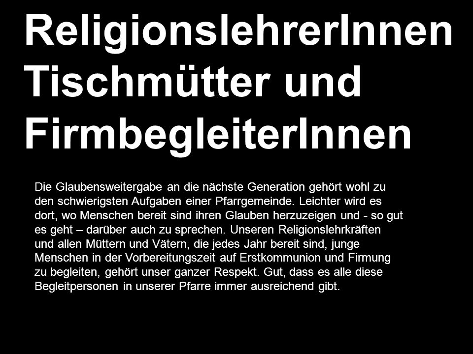 ReligionslehrerInnen Tischmütter und FirmbegleiterInnen
